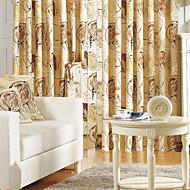 (Two Panels) Energy Saving Khaki Print Linen Curtain