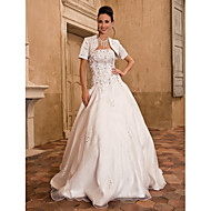 Lanting Ball Gown Plus Sizes Wedding Dress - Ivory Floor-length Strapless Satin/Taffeta