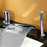 Contemporary Tub And Shower Waterfall / Widespread with  Ceramic Valve Two Handles Three Holes for  Chrome , Bathtub Faucet