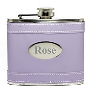 Gift Groomsman /Bridesmaid Personalized Lilac 5-oz Flask