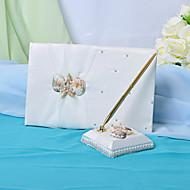 bruiloft gastenboek en pen set met zeeschelp teken in boek