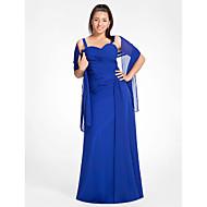 Vestido - Azul Real Festa Formal/Baile Militar Tubo/Coluna Curação/Alças Longo Chiffon Tamanhos Grandes