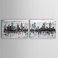 pintados a mano paisaje pintura al óleo con marco de estirado conjunto de 2