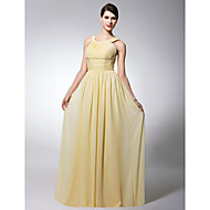Floor-length Chiffon Bridesmaid Dress - Daffodil Plus Sizes / Petite Sheath/Column Scoop / Straps
