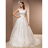 Lanting Bride A-line Petite / Plus Sizes Wedding Dress-Chapel Train Scoop Lace / Organza