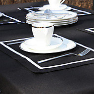 Set van 4 White Line Black Placemats