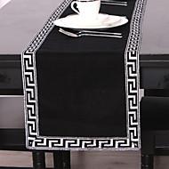 Noir / Argent Lin Rectangulaire Chemins de table