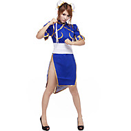Inspired by Street Fighter Chun-Li Video Game Cosplay Costumes Cosplay Suits Patchwork Blue Short Sleeve Cheongsam / Headpiece / Corset