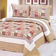 3-Piece Traditional Washed Cotton Plaid Quilt Set