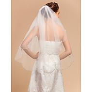 결혼식 아플리케 가장자리로 2 계층 손가락 베일을 가리고있는 베일