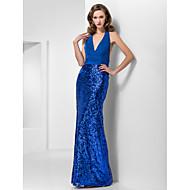 저녁 정장파티/프롬/밀리터리 볼 드레스 - 로얄 블루 트럼펫/멀메이드 바닥 길이 홀터/V넥 쉬폰/반짝이 플러스 사이즈