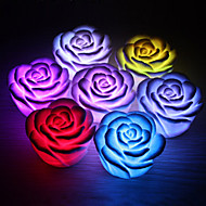 Romantic Rose Shaped 7 Colors Changing LED Night Light Ramdon Color(3xAG13)