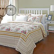 3-Piece Penny Floral Beige Cotton Queen Quilt Set