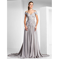 TS Couture Formal Evening Dress - Silver Plus Sizes / Petite A-line / Princess Off-the-shoulder / Spaghetti Straps Court Train Chiffon / Charmeuse