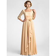 Lanting A-line Plus Sizes / Petite Mother of the Bride Dress - Champagne Floor-length Half Sleeve Lace / Chiffon