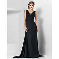 TS Couture® Formal Evening / Military Ball Dress - Elegant Plus Size / Petite Sheath / Column V-neck Watteau Train / Sweep / Brush Train Chiffon