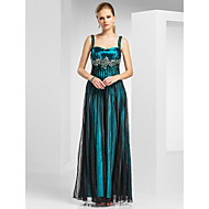 A-line Straps Knee-length Stripes Tulle Evening Dresses with Flowers Beading