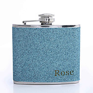 Gift Groomsman /Bridesmaid Personalized 5-oz Flask With Pearlized Leatherette Cover (More Colors)