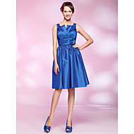 Cocktail Party Dress - Royal Blue Plus Sizes / Petite A-line / Princess Straps / Notched Knee-length Taffeta