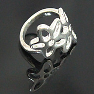 Silver Plated Hollow-out Five Petals Flower Ring