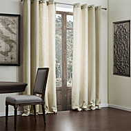Modern Two Panels Solid Beige Living Room Faux Linen Curtains Drapes