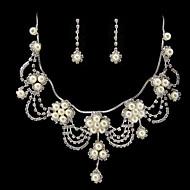 Women's Imitation Pearl/Silver/Alloy Jewelry Set Rhinestone