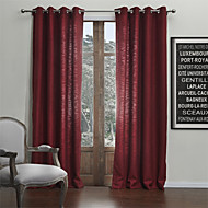 Two Panels  Faux Classic Linen Solid Eco-friendly Curtain