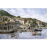 estirada arte de la lona del paisaje Samos Kokkari, Grecia, en la esquina del pescador por stanton manolakas listo para colgar