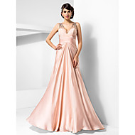 TS Couture® Prom / Formal Evening / Military Ball Dress - Sexy Plus Size / Petite Sheath / Column V-neck Floor-length Satin Chiffon with Beading /