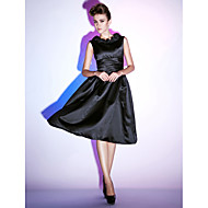 TS Couture® Cocktail Party / Holiday Dress - Little Black Dress Plus Size / Petite A-line / Princess Scoop Knee-length Satin with Ruffles / Ruching