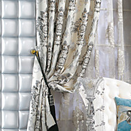 Two Panels  Michelle Luxury® Faux Silk Jacquard Floral Traditional Curtain