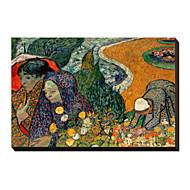 Kvinnorna av Arles (Minnen av trädgården på Etten), 1888 av Vincent Van Gogh berömda Sträckt Canvastryck