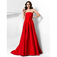 TS Couture® Formal Evening Dress - Vintage Inspired Plus Size / Petite A-line / Princess Strapless Court Train Taffeta with Draping