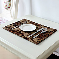 Chocolat Mélange Poly/Coton Rectangulaire Sets de table
