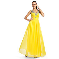 TS Couture® Prom / Formal Evening / Military Ball Dress - Elegant Plus Size / Petite A-line / Princess V-neck Floor-length Chiffon / Tulle with