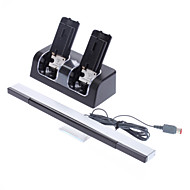 Rechargeable Battery Stand for Wii + 2 x 2800mAh Rechargeable Batteries + Wired Infrared Sensor Bar for Wii(Black)