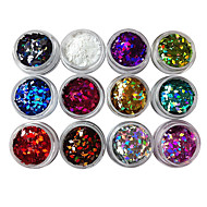 12PCS Diamond-Shaped Gitter Sequins Nail Decorations
