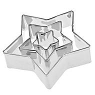 五芒星の形のステンレス鋼のクッキーカッターセット(3パック)