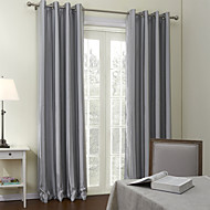 Neoclassical Two Panels Stripe Grey Living Room Polyester Panel Curtains Drapes