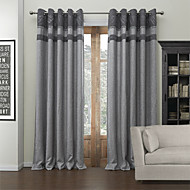 Modern Two Panels Solid Grey Living Room Poly  Cotton Blend Blackout Curtains Drapes