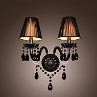 svart krystall Vegglampe med 2 lys i stoff skygge