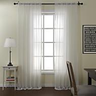 modernos dois painéis sólido sala de jantar branco poly algodão misturam tons cortinas diáfanas