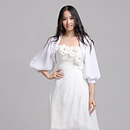 Wedding  Wraps Coats/Jackets 3/4-Length Sleeve Chiffon White Wedding / Party/Evening / Casual Puff Sleeves Open Front