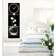 Modern Style Pink Floral Wall Clock in Canvas 3pcs