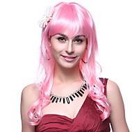 Korkiton korkealuokkaiset Quality synteettinen pitkä aaltoileva vaaleanpunainen hiukset Peruukit