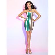 TS Couture Cocktail Party Dress - Multi-color Petite Sheath/Column Strapless Short/Mini Rayon