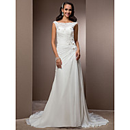 Lan Ting Sheath/Column Plus Sizes Wedding Dress - Ivory Court Train Bateau Chiffon