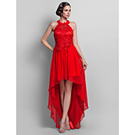 TS Couture® Formal Evening / Prom Dress - Ruby Plus Sizes / Petite Sheath/Column High Neck Asymmetrical Chiffon / Lace