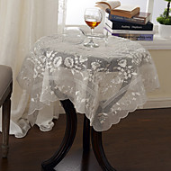 Blanc / Kaki Polyester Carré Nappes de table