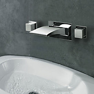Wall Mounted Two Handles Three Holes in Chrome Bathroom Sink Faucet
